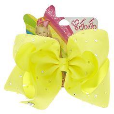 JoJo Siwa Large Boomerang Rhinestone Bright Yellow Hair Bow