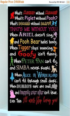 "disney house decor PRODUCT DESCRIPTION Beautiful DISNEY x wooden subway art with vinyl lettering quote-""What's Mickey without Minnie? What's Piglet without Pooh? Frases Disney, Disney Amor, Disney Disney, Disney Princess, Vinyl Lettering Quotes, Vinyl Quotes, Wooden Quotes, Humour Disney, Disney Memes"