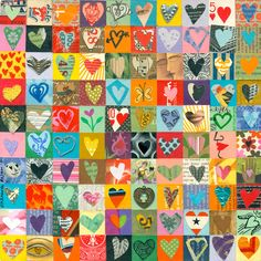so doing this with fabric!!  100 HEARTS love art mixed media hearts by ElizabethRosenArt.via Etsy.