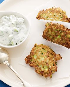 Zucchini Latkes with Tatziki - http://www.sweetpaulmag.com/food/thanksgivukkah-day-8-zucchini-latkes-with-tatziki #sweetpaul