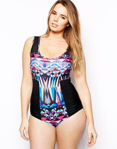 ASOS CURVE Exclusive Swimsuit In Graphic Print