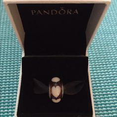 "Pandora ""Amber Love"" Murano glass bead Retired Pandora Jewelry Bracelets"