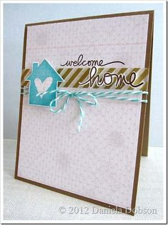~ welcome home ~ kaart met vogelhuisje, masking tape en baker twine Welcome Home Cards, New Home Cards, Scrapbook Supplies, Scrapbooking Layouts, Scrapbook Cards, Cool Cards, Diy Cards, Simple Card Designs, Thanks Card