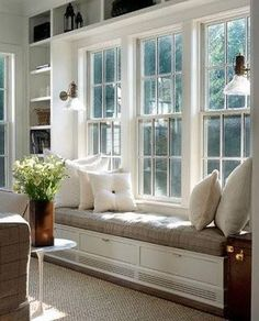 Idea for window in living room—framed with bookcases and window seat in between. Window seat could serve as dining seating! Window Benches, Bay Window Seating, Window Seats With Storage, Window Seat Cushions, Bench Cushions, Bay Window Storage, Window Seat Storage Bench, Sitting Pillows, Storage Benches