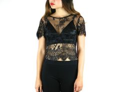 In Your Dreams Sheer White Black LACE Crop Top. by breathofyouth