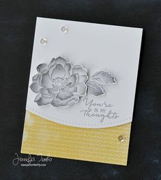 Finally got to put a card together with my no-line coloring flower.  I love gray and yellow together.  #stampinonthefly #altenew #lilinkerdesigns #ssswchallenge #simonsaysstamp #prettypinkposh