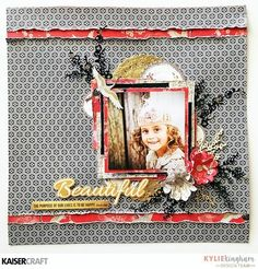 Layout created by Kylie Kingham for KaiserCraft Scrapbook Page Layouts, Scrapbook Albums, Scrapbook Paper, Scrapbooking Ideas, Chloe, Kids Pages, Mini Albums, Cardmaking, Google