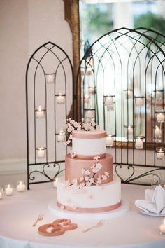 cherry blossom wedding cake idea; Featured Photographer: Eli Turner Studios