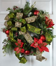 Traditional Christmas Poinsettia Wreath by Gaslight Floral Design. https://GaslightFloralDesign.com