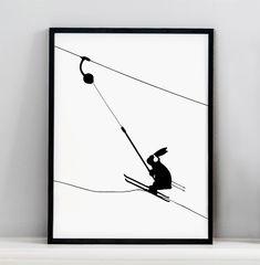 Button Lift Rabbit Screen Print - HAM MADE