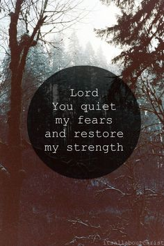 Lord, You quiet my fears and restore my strength.