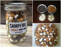 Camp fire Trail Mix in a Jar - Gifts in a jar - Chocolate in a jar - Smores in a jar- smores - campfire smores - gift idea - Smores in a jar by WrappedByHand on Etsy https://www.etsy.com/listing/256039255/camp-fire-trail-mix-in-a-jar-gifts-in-a