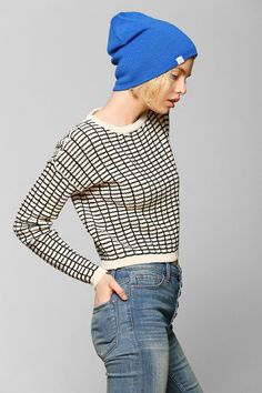 byCORPUS Grid Cropped Sweater