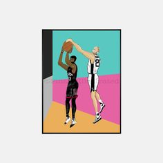 San Antonio Spurs Manu Ginobili blocks James Harden, print available for purchase in 3 sizes