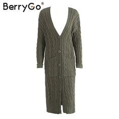 BerryGo Long sleeve warm cardigan female Knitting long cardigan sweater women jumper White pocket pull knit sweater shirt