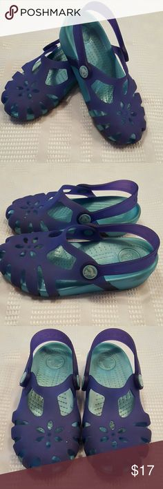 Girls Crocs Sandals sz 12 EUC Purple and teal crocs sandals sz 12 girls.  Gently worn a few times, a few marks on the bottom but overall in EUC.  Smoke free, pet free home. CROCS Shoes Sandals & Flip Flops