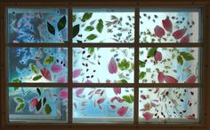 contact paper nature art - A combination of stained glass and nature scavenging contact paper art.