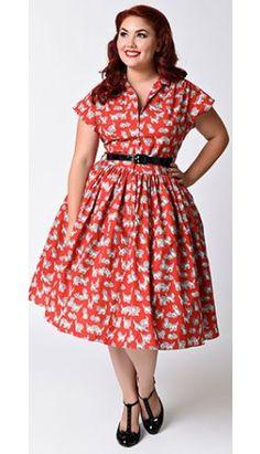 Bernie Dexter Plus Size 1950s Red Kitten Kelly Cap Sleeve Swing Dress