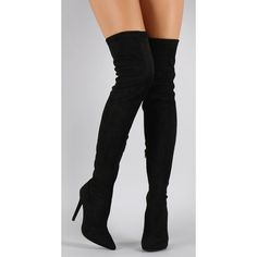 """""""BRENDA"""" thigh high boot ❤ liked on Polyvore featuring shoes, boots, high heel boots, thigh high heel boots, over knee boots, black over the knee boots and side zip boots"""