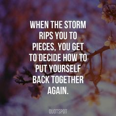 When the storm rips you to pieces you get to decide how to put yourself back together back.