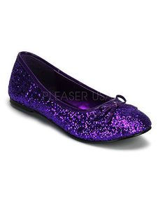 Enjoy a fun night out with these dazzling adult Purple Glitter Ballet Slippers by Pleaser USA. Part of the Funtasma Shoes Collection, these women's flats are glittery and features a lovely bow on top. Perfect for your favorite outfit and so many Halloween costumes! These flat shoes easily slip-on and will be comfortable to wear all night long. It is time to accessorize for that perfect outfit or costume!
