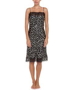 BedHead Pajamas Black Stepping Stones Print Silk Glam Slip