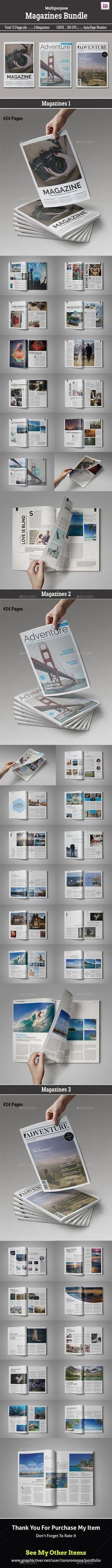 Magazines Bundle Templates InDesign INDD. Download here: http://graphicriver.net/item/magazines-bundle-volii/16401901?ref=ksioks