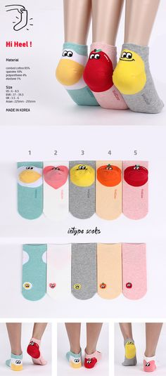 Point Heel Egg Heart Smile Orange & Apple very nice socks~!