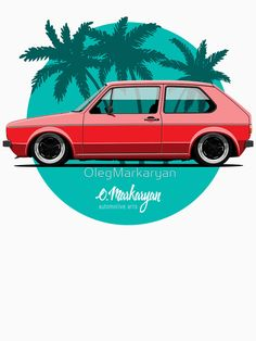 'Golf (red)' T-Shirt by OlegMarkaryan Volkswagen Golf Mk2, Vw Mk1, Golf 1, Vw R32 Mk4, Vw Classic, Car Vector, Car Illustration, Illustrations, Car Drawings