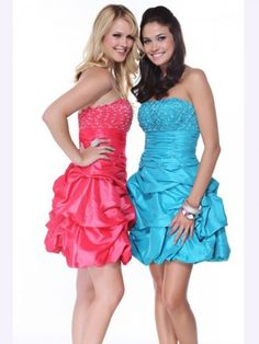 blue and hot pink strapless prom dresses