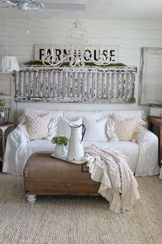 SlipCover   Ruffled Slipcover   Sofa Cover   Sofa Scarf   Slip Cover   Couch Cover   Farmhouse Decor   Shabby Chic Sofa   Cottage