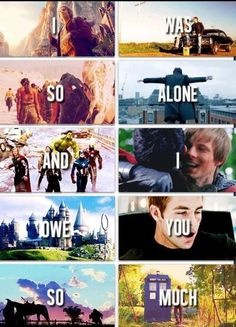 The Hobbit ♥ Supernatural ♥ Game of Thrones ♥ Sherlock ♥ The Avengers ♥ Merlin ♥ Harry Potter ♥ Star Trek ♥ LotR ♥ Doctor Who