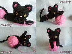 Amigurumi Gato Negro : Gato negro amigurumi de cuello delgado patrón gratis formato y en