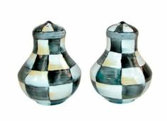 "McKenzie Courtly Check Enamel Salt & Pepper Shakers 2.5"" dia., 3"" tall. by McKenzie. $44.00. Spice up your table with the Courtly Check® Enamel Salt and Pepper Shakers, rendered in our signature black-and-white pattern that complements any kitchen decor. Make sure your seasoning supply is up to snuff because demand will surely be high when calls to ""Pass the salt and pepper, please"" result in the delivery of such flavorful pieces. With a subtle jewel-tone palette woven by a..."