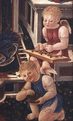 MADONNA dell'Orchestra, post 1448    Angel with zither (detail)   In the Galleria Nazionale dell' Umbria : Giovanni Boccati [1420 -1480 ca.]  Perugia, chiesa dei Santi Simone e Giuda (chiesa del Carmine) tempera su tavola
