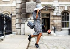 a printed midi dress and closed-toe heels pairing is always a safe bet when meeting the parents.... - Street Style