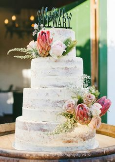 Semi naked wedding cake for a rustic winelands wedding by Creative Cakepops