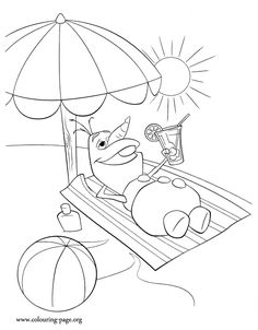 Look! Olaf is dreaming about a beautiful sunny day. Print and color this amazing Disney Frozen coloring page and have fun!