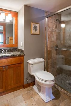 3/4 Bathroom with Tan Brown Granite Countertop, Arizona Tile, Simple granite counters, Sandy Creek, Limestone, Simple Granite