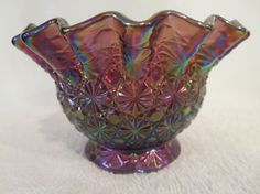 Daisy and Button Carnival Glass Candy Bowl by L. E. Smith.