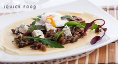 Balsamic caramelized mushroom crepes with blue cheese and a poached egg are everything you need for a delicious snack. Check it out y'all! Poached Eggs, Fun Cooking, Blue Cheese, Yummy Snacks, Quick Meals, Crepes, Caramel, Sandwiches, Stuffed Mushrooms