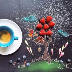 Однажды она поставила свою чашку кофе с печеньем на черный холст, и вот что из этого вышло   KaifZona.Ru