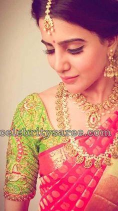 51 ideas for south indian bridal saree blouse fashion weeks Samantha Photos, Samantha Ruth, Samantha In Saree, Indian Bridal Sarees, Indian Bridal Wear, Indian Wear, Indian Lehenga, Bridal Blouse Designs, Saree Blouse Designs