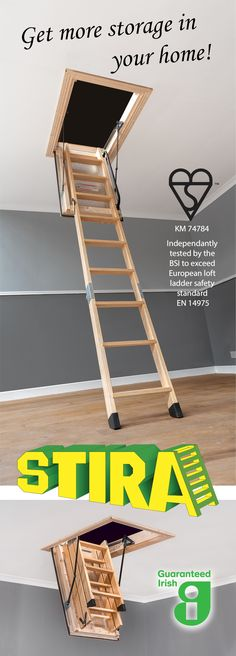 The Stira Folding Attic Stairs is a loft ladder built to last. Big framing, unique hinges, and a full fitting service make it different from other loft ladders available to buy in shops. Available in a range of sizes or custom build, 10 year guarantee, fully fitted, Kitemark, EN 14975 independently tested by the BSI.  #stira #loft ladder