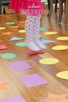 Indoor Games for kids ~ Shape Hopscotch is a fun Gross motor game, teaches shapes and colors Gross Motor Activities, Indoor Activities, Craft Activities, Toddler Activities, Preschool Activities, Toddler Games, Shape Activities, Summer Activities, Therapy Activities