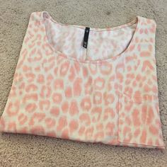 Pink Cheetah Print Crop Top Pink and white crop top with pocket. Size large but fits more like a medium. ❌No trades or Paypal ✅ Make an offer Love Culture Tops Crop Tops