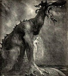Image collections of Swedish artist John Bauer. Art and illustrations from Our Fathers' Godsaga, Swedish Fairy and Folk Tales, Lapp Folk, Swansuit, more. And of course trolls! John Bauer, Troll, Arte Horror, Fairytale Art, Art Plastique, Mythical Creatures, Fairytale Creatures, Dark Fantasy, Animal Drawings