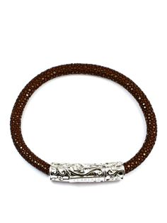 Men's Brown Stingray Bracelet with Silver Lock Sterling Silver, Brown, Bracelets, Gold, Leather, Jewelry, Bangles, Jewlery, Jewels