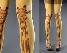Tattoo Tights - mustard one size Giraffe full length closed toe tights pantyhose, tattoo socks, printed tights on Etsy, $33.00
