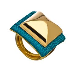 Pyramid stud ring with gorgeous teal detail. mhhhhmmmmm
